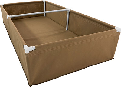 4x8 fabric raised bed side angle.